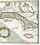 1763 Terreni  Coltellini Map Of Cuba And Jamaica Canvas Print