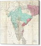 1768 Jeffreys Wall Map Of India And Ceylon Canvas Print