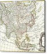 1770 Janvier Map Of Asia Canvas Print