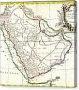 1771 Bonne Map Of Arabia Geographicus Arabia Bonne 1771 Canvas Print