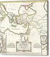 1771 Bonne Map Of The New Testament Lands Holy Land And Jerusalem Canvas Print