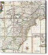 1779 Phelippeaux Case Map Of The United States During The Revolutionary War Canvas Print