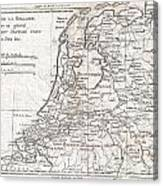 1780 Raynal And Bonne Map Of Holland And Belgium Canvas Print