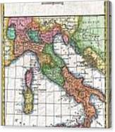 1780 Raynal And Bonne Map Of Italy Canvas Print