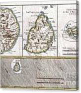 1780 Raynal And Bonne Map Of Mascarene Islands Reunion Mauritius Bourbon Canvas Print