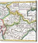 1780 Raynal And Bonne Map Of Northern India Canvas Print