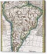 1780 Raynal And Bonne Map Of South America Canvas Print