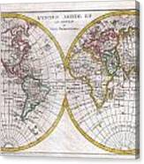 1780 Raynal And Bonne Map Of The Two Hemispheres Canvas Print
