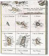 1780 Raynal And Bonne Map Of The Virgin Islands And Antilles West Indies Canvas Print