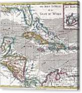 1780 Raynal And Bonne Map Of The West Indies Caribbean And Gulf Of Mexico Canvas Print