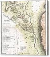 1783 Bocage Map Of The Topography Of Sparta Ancient Greece And Environs Canvas Print