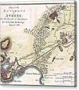 1784 Bocage Map Of The City Of Athens In Ancient Greece Canvas Print