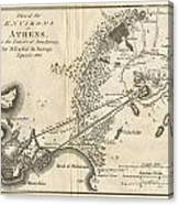 1785 Bocage Map Of Athens And Environs Including Piraeus In Ancient Greece Canvas Print