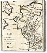 1786 Bocage Map Of Elis And Triphylia In Ancient Greece  Canvas Print