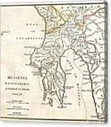 1786 Bocage Map Of Messenia In Ancient Greece Canvas Print