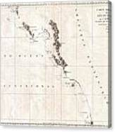 1786 La Perouse Map Of Vancouver And British Columbia Canada Canvas Print