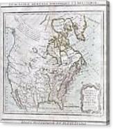 1789 Brion De La Tour Map Of North America Canvas Print