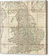 1790 Faden Map Of The Roads Of Great Britain Or England Canvas Print