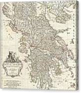 1794 Anville Map Of Ancient Greece  Canvas Print