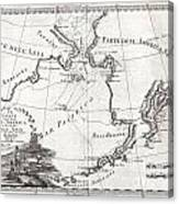 1798 Cassini Map Of Alaska And The Bering Strait Canvas Print