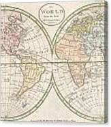 1798 Payne Map Of The World  Canvas Print