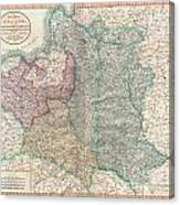 1799 Cary Map Of Poland Prussia And Lithuania  Canvas Print