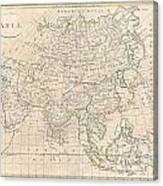 1799 Clement Cruttwell Map Of Asia Canvas Print