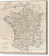 1799 Clement Cruttwell Map Of France In Provinces Canvas Print
