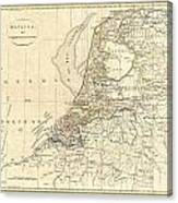 1799 Clement Cruttwell Map Of Holland Or The Netherlands Canvas Print