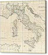 1799 Clement Cruttwell Map Of Italy Canvas Print