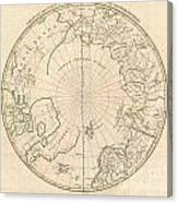 1799 Clement Cruttwell Map Of North Pole Canvas Print