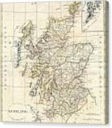 1799 Clement Cruttwell Map Of Scotland Canvas Print