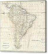 1799 Clement Cruttwell Map Of South America  Canvas Print