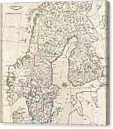 1799 Clement Cruttwell Map Of Sweden Denmark And Norway Canvas Print
