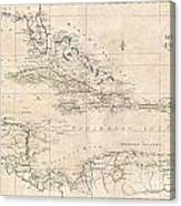 1799 Clement Cruttwell Map Of West Indies Canvas Print
