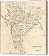 1799 Clement Crutwell Map Of Hindoostan Canvas Print