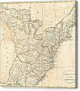 1799 Cruttwell Map Of The United States Of America Canvas Print