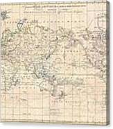 1799 Cruttwell Map Of The World On Mercators Projection Canvas Print