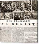 17th Century Political Satire, Artwork Canvas Print