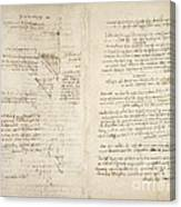 Notes By Leonardo Da Vinci, Codex Arundel Canvas Print