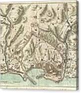 1800 Bardi Map Of Genoa Genova Italy  Canvas Print