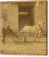 1800's Vintage Photo Of Horse Drawn Carriage Canvas Print