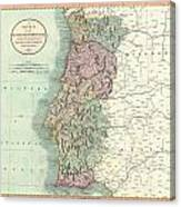1801 Cary Map Of Portugal Canvas Print