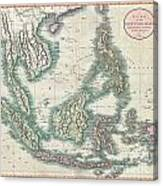 1801 Cary Map Of The East Indies And Southeast Asia  Singapore Borneo Sumatra Java Philippines Canvas Print