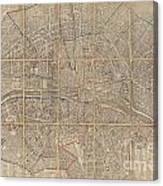 1802 Chez Jean Map Of Paris In 12 Municipalities France Canvas Print