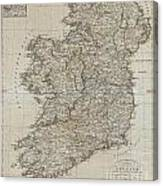 1804 Jeffreys And Kitchin Map Of Ireland Canvas Print