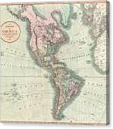 1806 Cary Map Of The Western Hemisphere  North America And South America Canvas Print