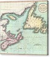 1807 Cary Map Of Nova Scotia And Newfoundland Canvas Print