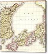 1809 Pinkerton Map Of Korea And Japan Canvas Print