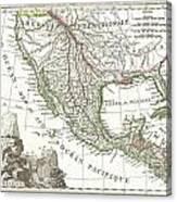 1810 Tardieu Map Of Mexico Texas And California Canvas Print
